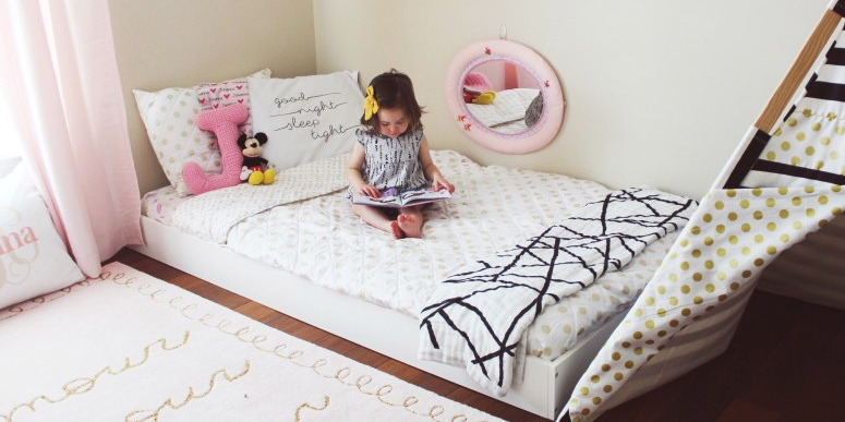 floral accent wall, toddler room, baby room, nursery, girl room, boy room, floor bed, montessori floor bed, kids decor, kids dream room, toddler bed, kids bed, house frame bed, teepee, kids fort, playroom, kids playroom, dream playroom, DIY house frame floor bed, DIY house bed, DIY floor bed, floor beds for toddlers, boho chic girls room, little girls room, dreamy girls bedroom, girl bedroom design, Montessori bedroom