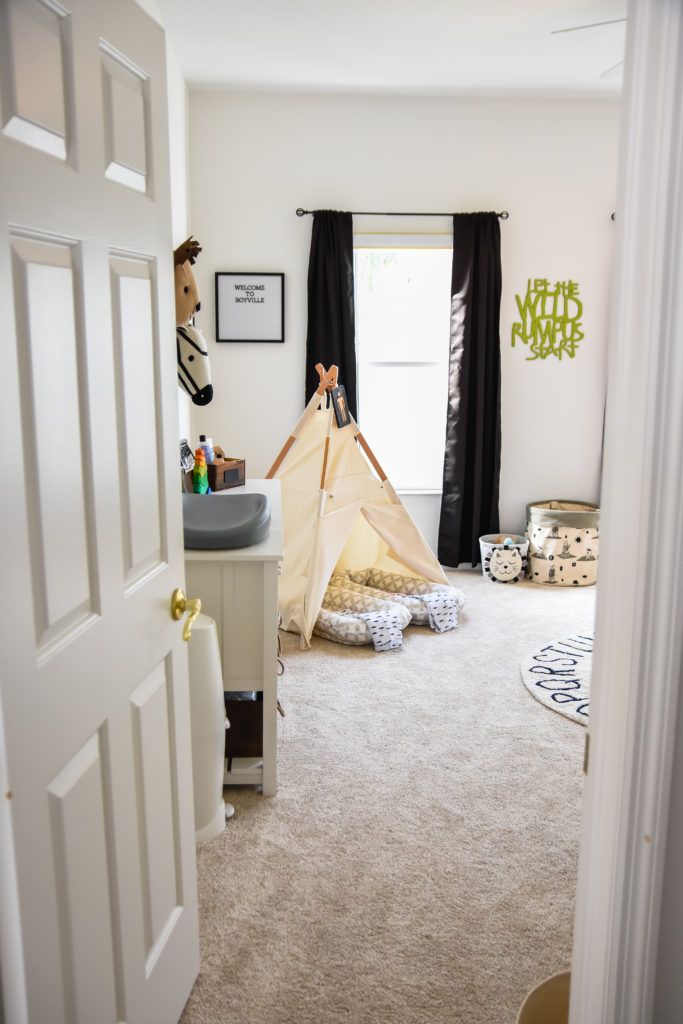 The big reveal is here! Oh Happy Play shares a look at the twins' Monochrome Little Man Cave Nursery Reveal! See more now!