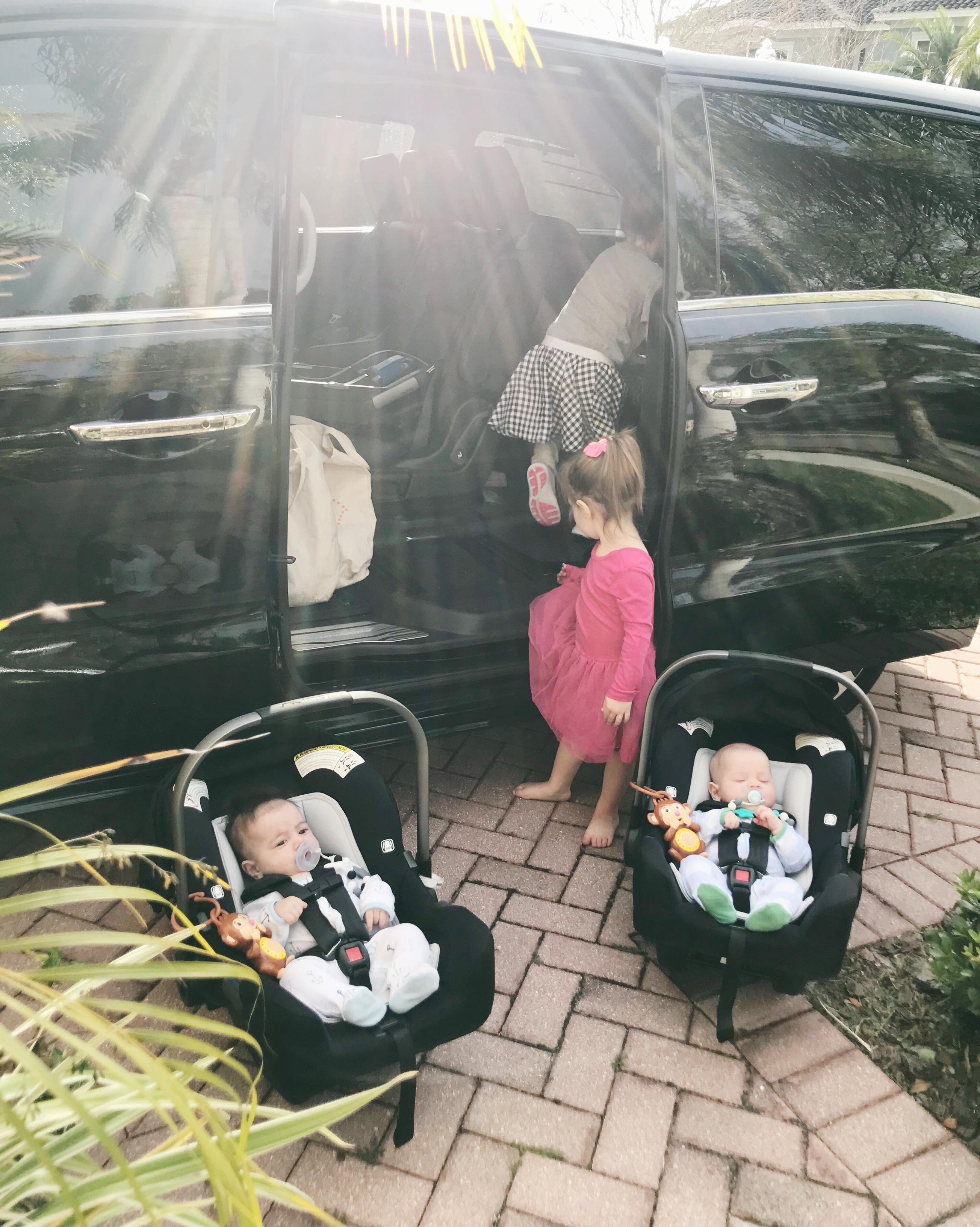 loading twins into minivan