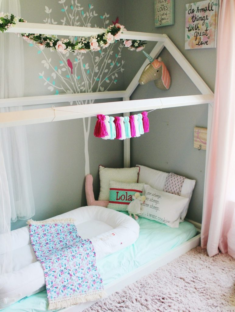 toddler room, baby room, nursery, girl room, boy room, floor bed, montessori floor bed, kids decor, kids dream room, toddler bed, kids bed, house frame bed, teepee, kids fort, playroom, kids playroom, dream playroom, DIY house frame floor bed, DIY house bed, DIY floor bed, floor beds for toddlers, how to make a floor bed, easy floor bed, diy floor bed, simple floor bed, what is a floor bed