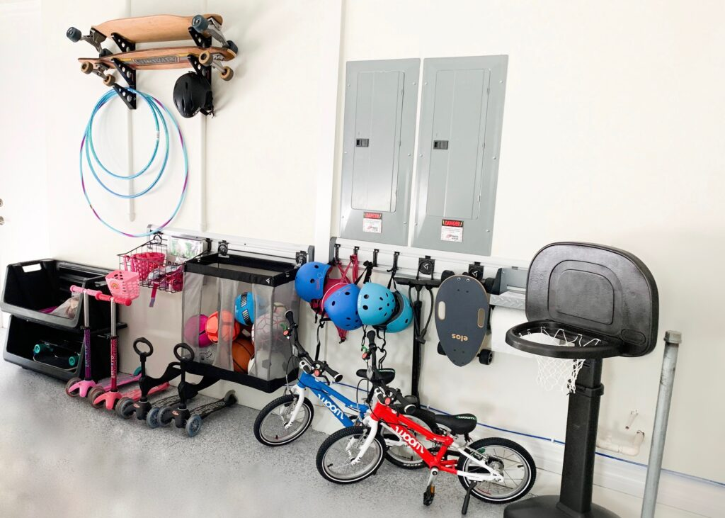 garage toy storage, Sports equipment, outdoor toys, declutter garage, ideas,