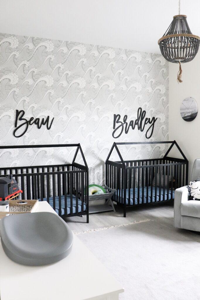 modern wave wallpaper, house frame cribs, boy nursery, nursery themes, boy nursery decor, nursery for twins, wooden name signs, beach themed nursery