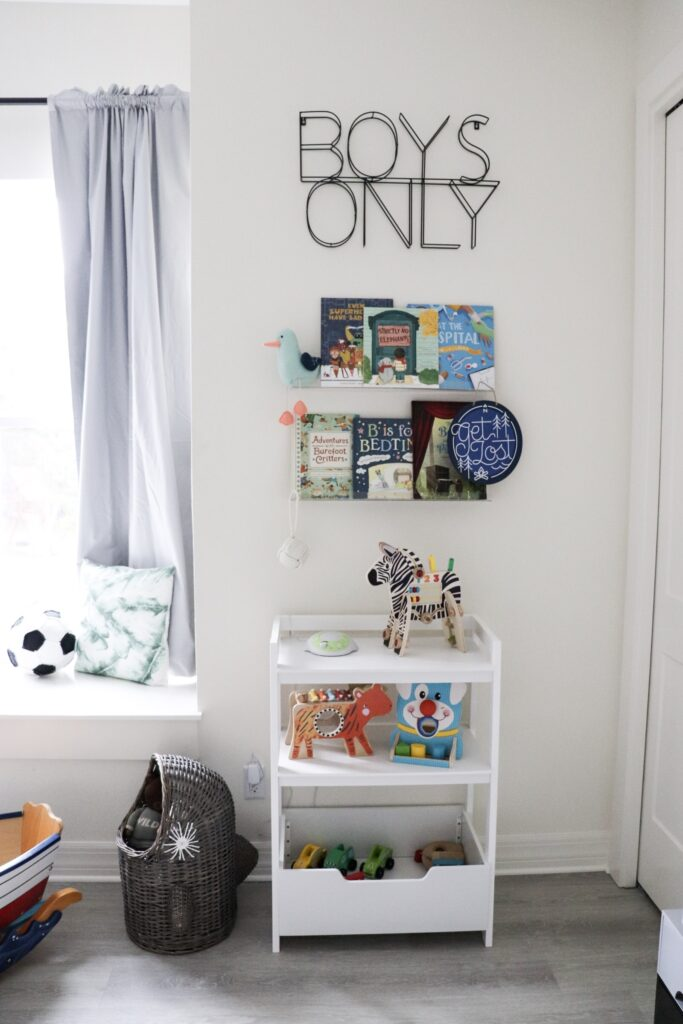 ladder shelf, house frame cribs, boy nursery, nursery themes, boy nursery decor, nursery for twins, wooden name signs, beach themed nursery