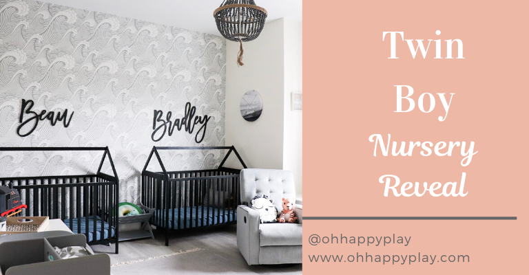 twin boy nursery, house frame cribs, boy nursery, nursery themes, boy nursery decor, nursery for twins, wooden name signs, beach themed nursery