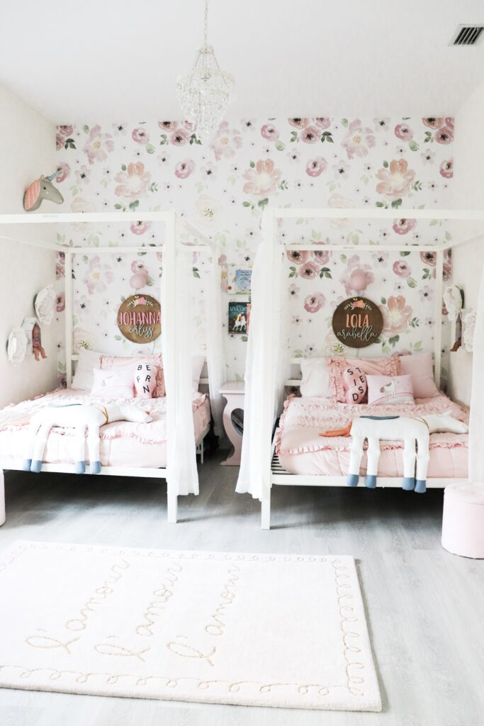 modern canopy bed, shared bedroom ideas, whimsical shared girl room