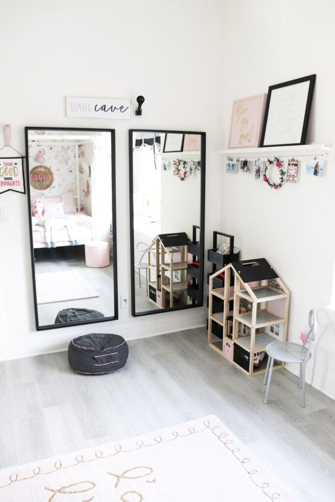 Shared room ideas, large mirror for girls room, whimsical shared girl room