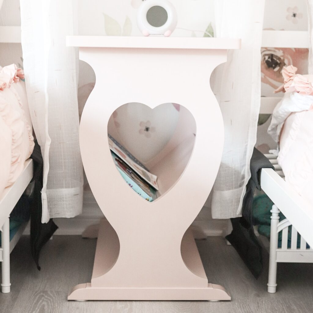 heart nightstand, thin nightstand, girl bedroom nightstand