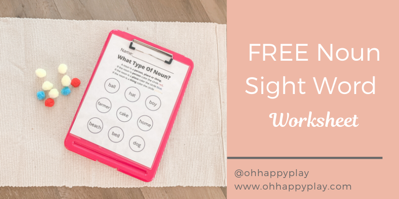 Noun Definition For Kids, Sight Word Worksheet, FREE Noun Worksheet, Montessori Noun Lesson, FREE Noun Sight Word Worksheet