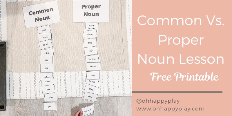 Common and proper noun worksheet, common and proper noun examples, what is a proper noun, what is a common noun, proper noun for kids, common noun examples, fun with common and proper noun, common and proper noun montessori lesson,