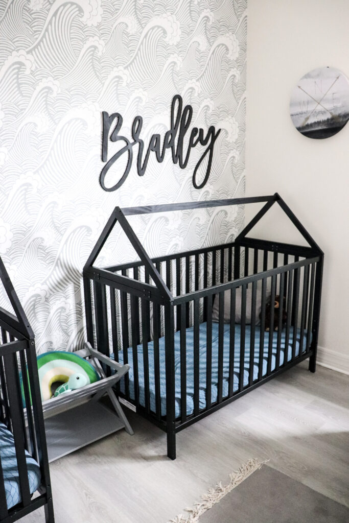 twin boy nursery, house frame cribs, boy nursery, nursery themes, Union 3-in-1 Convertible Crib, ebony, boy nursery decor, nursery for twins, beach themed nursery, house toddler bed, house frame bed for toddlers, modern house cribs, modern cribs for baby, stokke crib knock off, stokke crib dupe