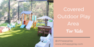 artificial turf play area, screened in play area, outside play area for kids, backyard play area for kids, shaded play area for toddlers, toddlers outside play area, mud kitchen