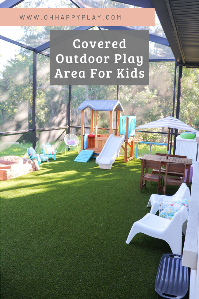 artificial turf play area, outdoor play, screened in play area, outside play area for kids, backyard play area for kids, shaded play area for toddlers, toddlers outside play area, mud kitchen