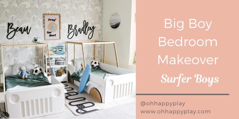 big boy bedroom makeover, beach surfer themed bedroom, twin bedroom