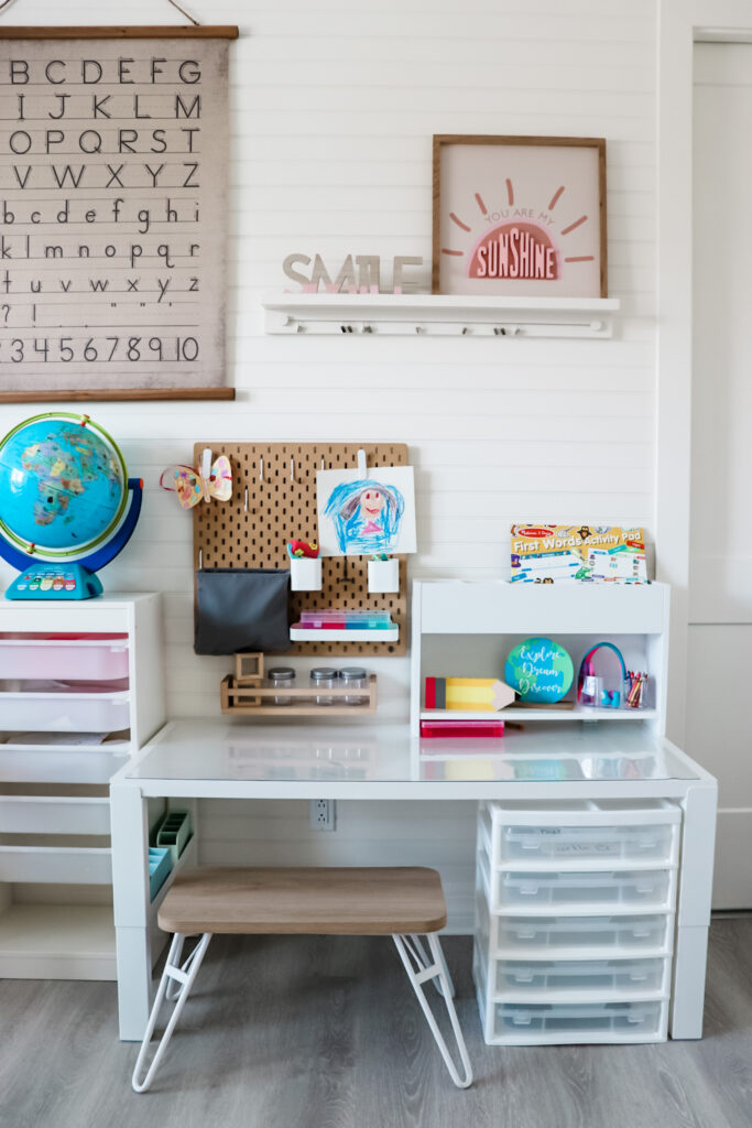 Homeschool room ideas, ikea homeschool room, ikea craft room, craft table for kids, craft table with storage, best craft table for little kids, craft room, , virtual learning room, homeschool room organization, craft room organization, online school room, virtual school space at home