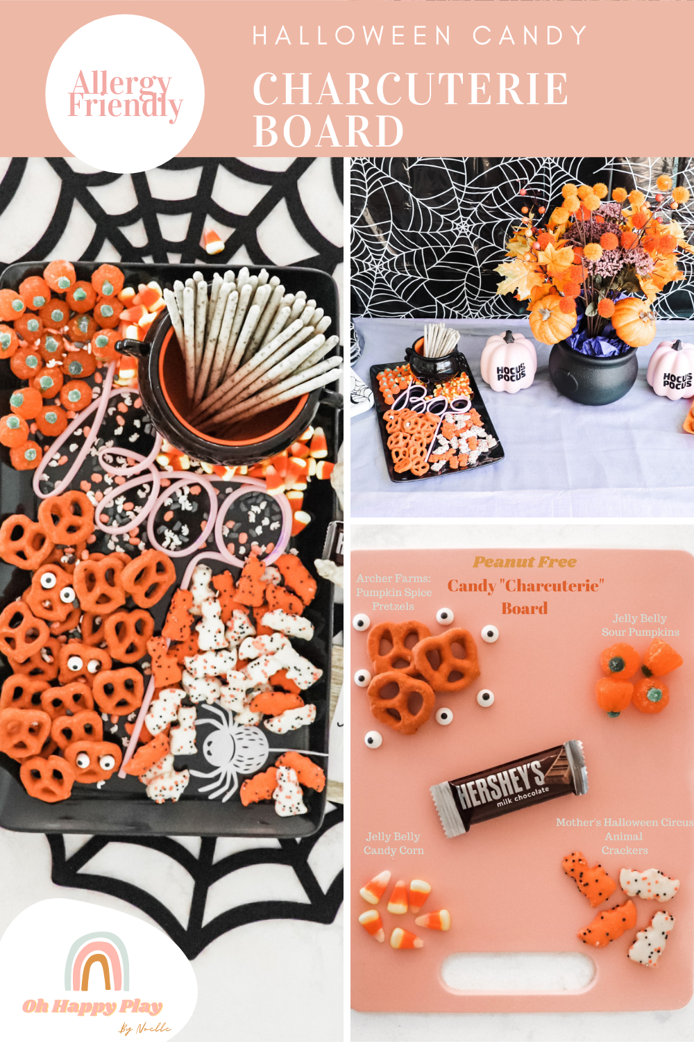 allergy friendly, Halloween grazing board, Halloween Party Grazing Food Table, candy charcuterie board, halloween candy charcuterie platter, charcuterie board, board birthday, board halloween, board, instagram reels mom blogger, easy halloween treats dessert