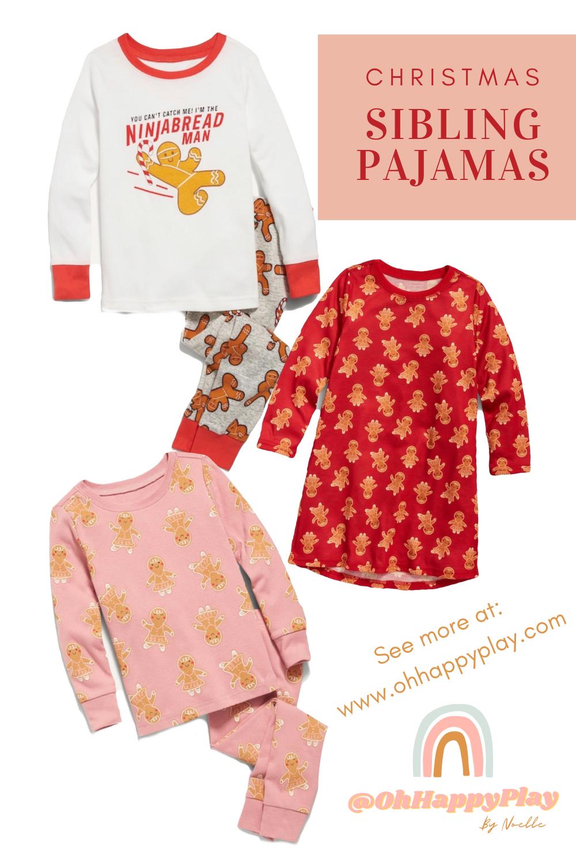 sibling matching pajamas, sibling christmas pajamas, family matching christmas pajamas