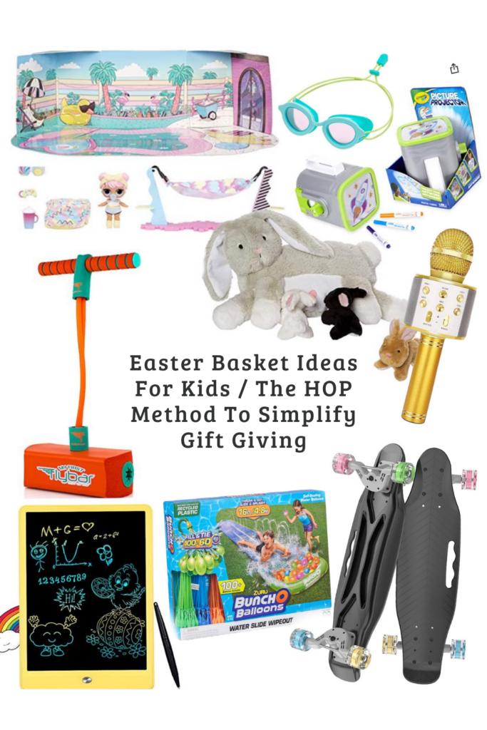 Easter Basket ideas, for girls, for boys, for toddlers, the HOP method, easter gift guide for kids